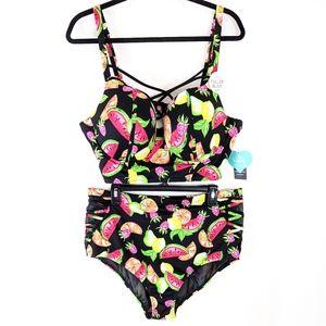 Torrid Tropical Fruit Lattice Black Bikini Set 2X